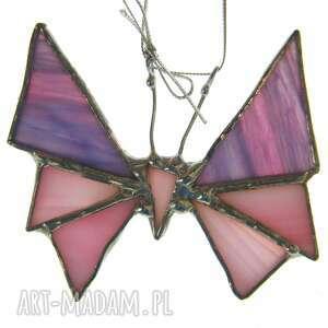 różowe zawieszka witrażowa kartka na życzenia z małym motylem