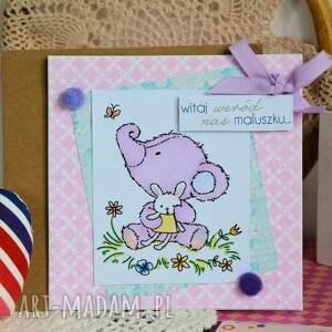 kartka kartki fioletowe - witaj wśród nas