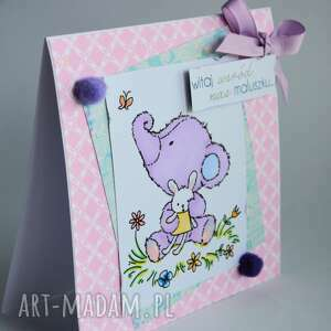 fioletowe kartki niemowlę kartka - witaj wśród nas maluszku