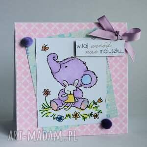 dziecko kartki różowe kartka - witaj wśród nas maluszku