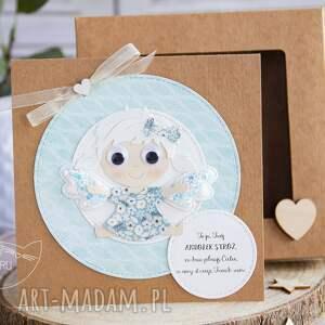 niesztampowe kartki aniołek kartka z aniołkiem w pudełeczku