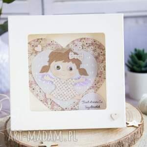 hand made kartki chrzest kartka z aniołkiem w pudełeczku