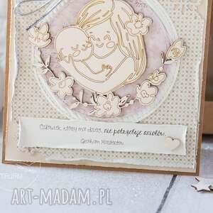 beżowe kartki gratulacje kartka z okazji narodzin, chrztu