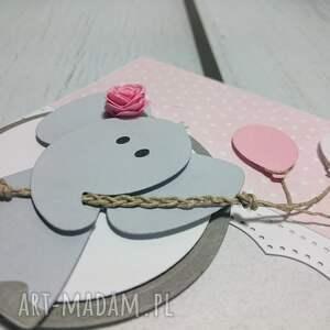 ręczne wykonanie kartki słonik kartka/zaproszenie z balonikowym