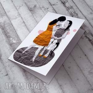 szare kartki dzień matki mama i córka - karteczka
