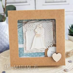 beżowe kartki kartka ślubna wyjątkowa, warstwowa