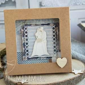 beżowe kartki kartka ślubna piękna rustykalna