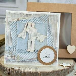 beżowe prezent ślubny piękna rustykalna kartka ślubna