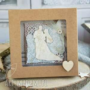 beżowe kartki prezent ślubny piękna rustykalna kartka ślubna