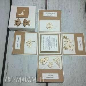 beżowe kartki box stylowe eksplodujące pudełeczko