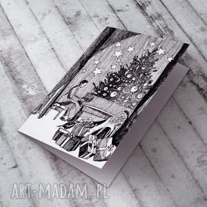 prezenty pod choinkę kartki %wiąteczny las... karteczka na