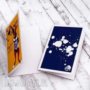 niebieskie kartki wielkanocna karteczka z zającem