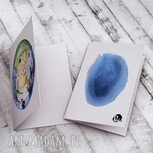 turkusowe kartki kartka wielkanocna karteczka malowana