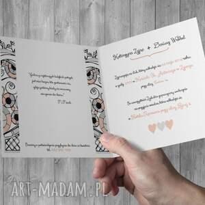 zaproszenia kartki ślubne z bramą ogodową
