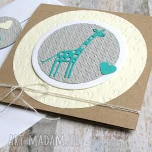 beżowe kartki chrzciny żyrafa:: kartka na narodziny