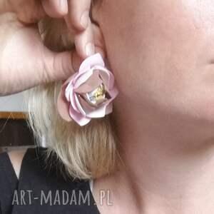 klipsy beżowe jesienne kwiatowe