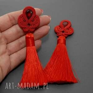 ręcznie robione klipsy sznurek czerwone sutasz