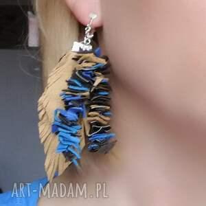 hand made klipsy długie skóra liście etno