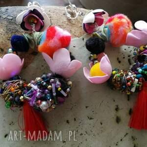 klipsy: duże zwariowane etno boho koła - Hand Made