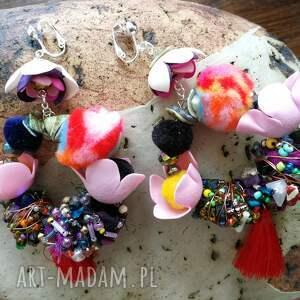 Ruda Klara klipsy: duże zwariowane etno boho koła - Hand Made kolorowe