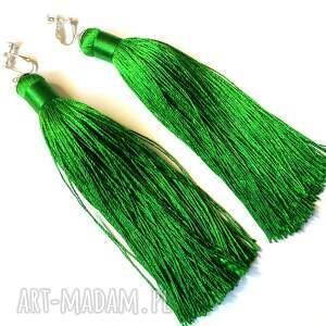 hand-made klipsy frędzle duże zielone