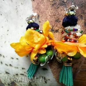 klipsy etno boho pompony kwiatowe