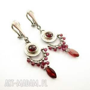 ciekawe klipsy biżuteria srebrna granatowe markizy