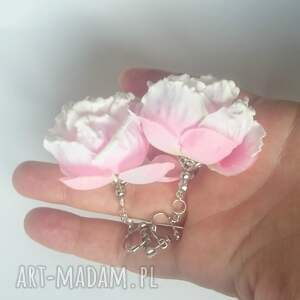 róże klipsy handmade kwiatowe jaśminowe