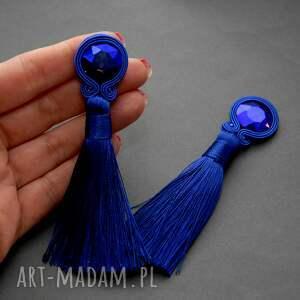 klipsy sznurek kobaltowe sutasz z chwostami
