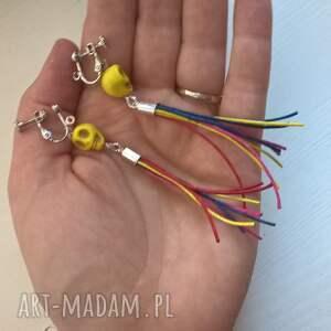 hand-made klipsy kolorowe z czaszką