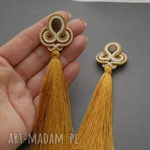klipsy sznurek kremowo złote sutasz