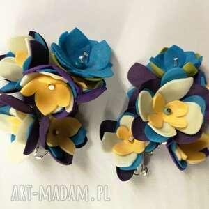 klipsy kwiaty kwiatowe handmade wykonane