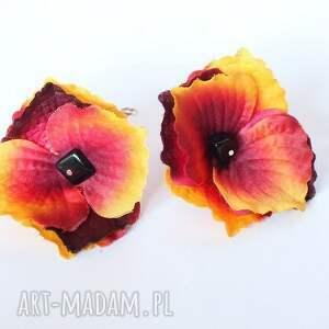etno klipsy kwiatowe orientalne