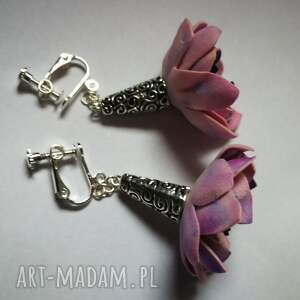 hand made klipsy kwiaty wisnie zakręcone