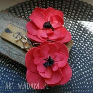 klipsy etno kwiaty maki lekkie