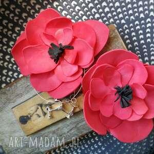 etno klipsy kwiaty maki lekkie