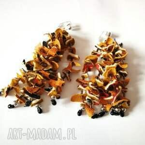 klipsy: lekkie bujne listki jesienne boho - kolorowe etno