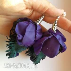 atrakcyjne klipsy kwiaty lekkie długie bujne handmade