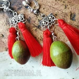 Ruda Klara klipsy: mango lekkie pompony boho orient - kolorowe etno