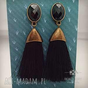 handmade klipsy kolczyki pędzelki w antycznej oprawie czarne