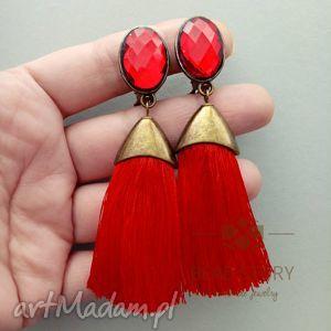 czerwone klipsy kolczyki pędzelki w antycznej oprawie