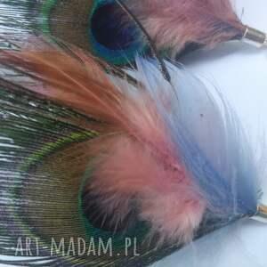 etno klipsy pióra wiszące długie