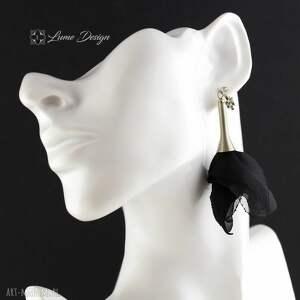 ręcznie robione klipsy długie silk czarne