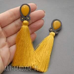 hand made klipsy sznurek sutasz z jadeitami