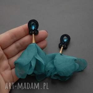 handmade klipsy sznurek sutasz z kwiatkiem