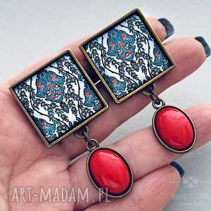 czerwone klipsy ornament szanghaj