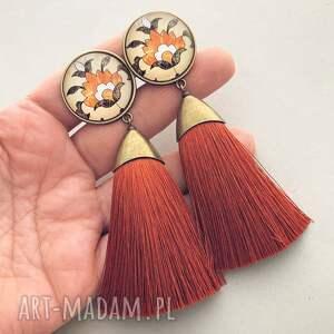 pomarańczowe klipsy rustykalne weronika