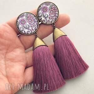 fioletowe klipsy chwosty z chwostami wrzosowymi