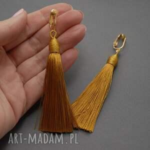 ręcznie robione klipsy sznurek z chwostami