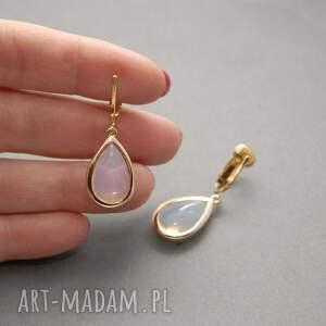 urokliwe klipsy opal z łezką